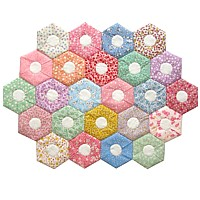Folded hexagon quilt PDF pattern hand stitching patchwork project any size