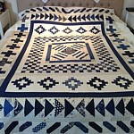 Indigo Crossing Medallion Quilt PDF Pattern blue and white patchwork quilt