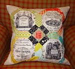 The Kensington Cushion Pattern English Paper piecing EPP hand stitching project using fabric glue or papers