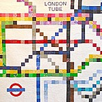 The London Underground Map London subway tube chart patchwork quilt pattern.  Perfect for using up all those scrap